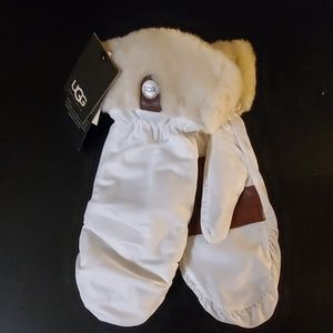 UGG Water Resistant Nylon & Shearling Cuff Mittens